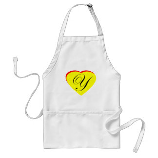 Heart Yellow Red Y Wedding Invitation The MUSEUM Z Adult Apron