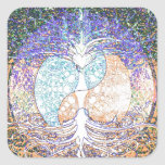 Heart, yin yang, tree of life by Amelia Carrie Square Stickers