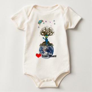 Heart Your Planet! Alien Peace Sign Baby Bodysuit