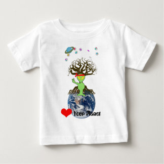 Heart Your Planet! Alien Peace Sign Baby T-Shirt