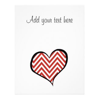 Heart, Zigzag (Chevron), Stripes, Lines - Red Full Color Flyer