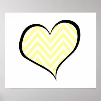 Heart, Zigzag (Chevron), Stripes, Lines - Yellow Poster