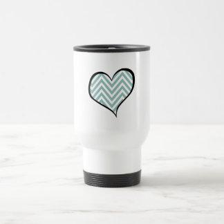 Heart, Zigzag Pattern, Chevron Pattern - Blue Travel Mug