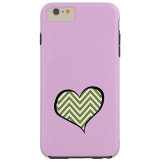 Heart, Zigzag Pattern, Chevron Pattern - Green Tough iPhone 6 Plus Case