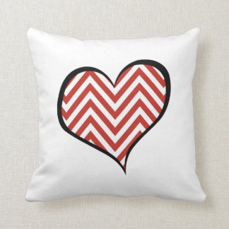 Heart, Zigzag Pattern, Chevron Pattern - Red Throw Pillow