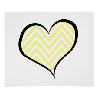 Heart, Zigzag Pattern, Chevron Pattern - Yellow Poster
