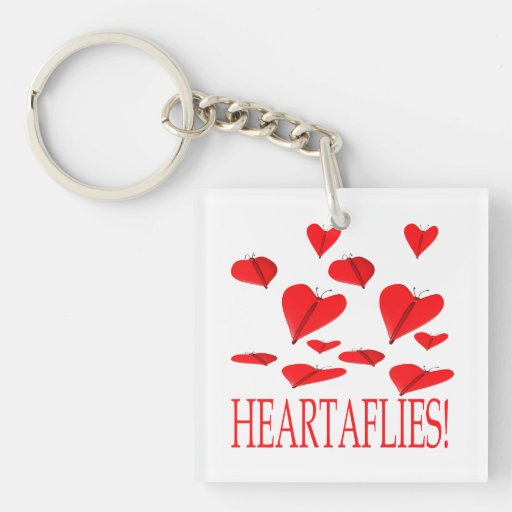 Heartaflies Double-Sided Square Acrylic Keychain