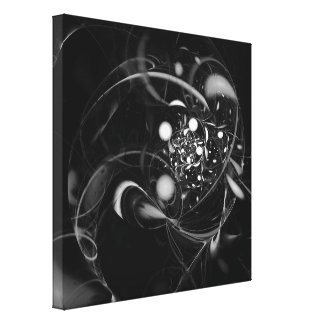 Heartbeat Abstract Art Black and White Canvas Print