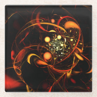 Heartbeat Abstract Art Glass Coaster
