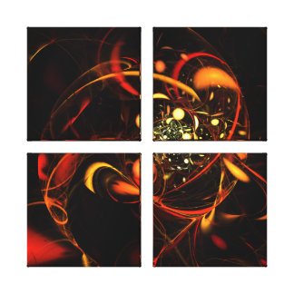 Heartbeat Abstract Art Quad Canvas Print