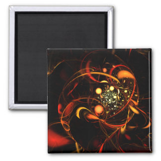 Heartbeat Abstract Art Square Magnet