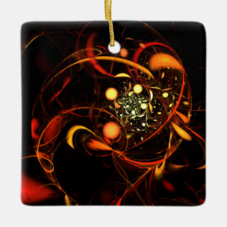 Heartbeat Abstract Art Square Ornament