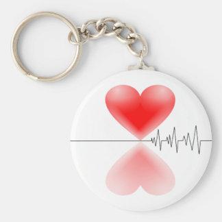 Heartbeat Basic Round Button Keychain