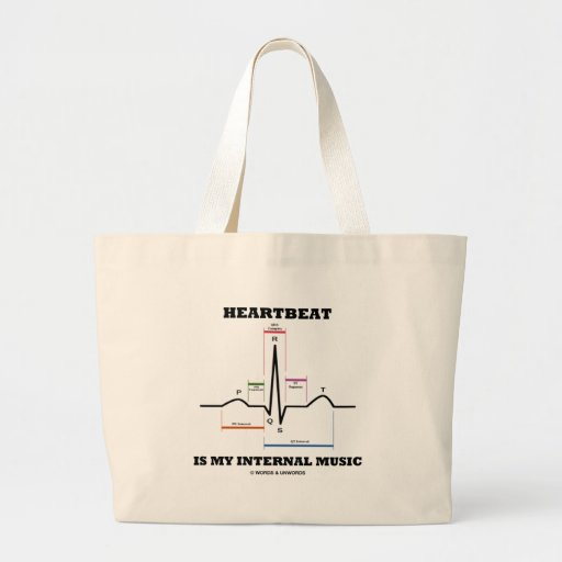 Heartbeat Is My Internal Music (ECG/EKG) Jumbo Tote Bag