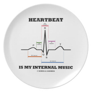Heartbeat Is My Internal Music (ECG/EKG) Melamine Plate