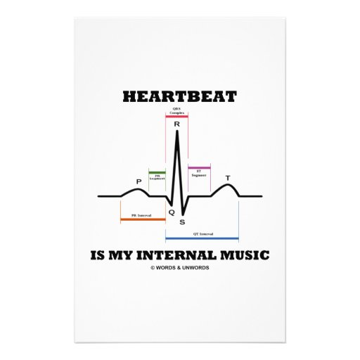 Heartbeat Is My Internal Music (ECG/EKG) Stationery