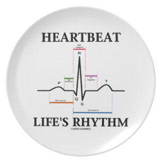 Heartbeat Life's Rhythm (ECG/EKG) Melamine Plate
