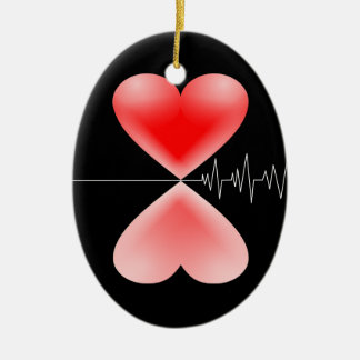 Heartbeat ONE-SIDED OVAL Ceramic Ornament