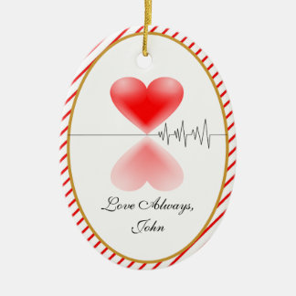 Heartbeat TWO-SIDED OVAL Ceramic Ornament
