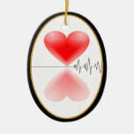 Heartbeat TWO-SIDED OVAL Double-Sided Oval Ceramic Christmas Ornament