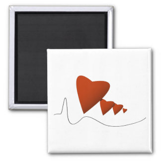 Heartbeats 2 Inch Square Magnet