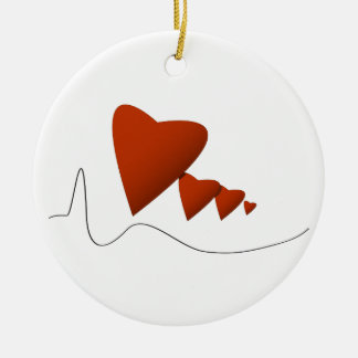 Heartbeats Ceramic Ornament