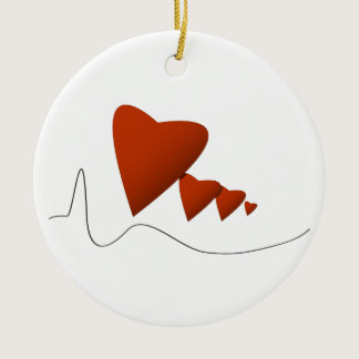 Heartbeats Ceramic Ornament