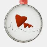 Heartbeats Round Metal Christmas Ornament