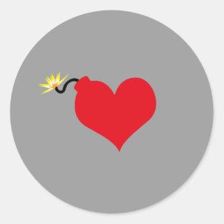 HeartBomb Round Stickers