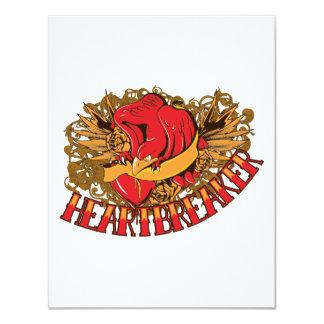 heartbreaker red bird tattoo style art custom invitations