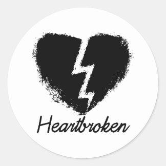 Heartbroken Anti Valentine's Day Classic Round Sticker