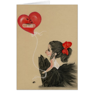 Heartbroken little sad cartoon girl Card