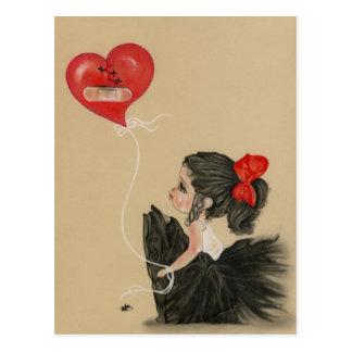 Heartbroken little sad cartoon girlPostcard Postcard