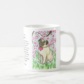 Hearted Pug with Cherry Blossoms Coffee Mug