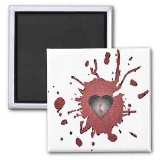 Hearted quebrado imán cuadrado