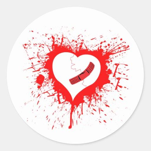 Hearted quebrado… otra vez pegatina redonda