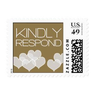 Heartfelt - Kindly Respond - Gold Stamps
