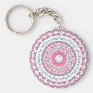 Heartfelt Mandala Kaleidoscope Pattern Basic Round Button Keychain