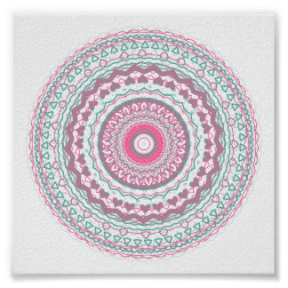 Heartfelt Mandala Kaleidoscope Pattern Poster