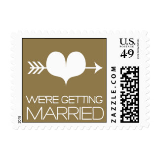 Heartfelt - We're Getting Married - Gold Postage