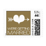 Heartfelt - We're Getting Married - Gold Postage Stamps
