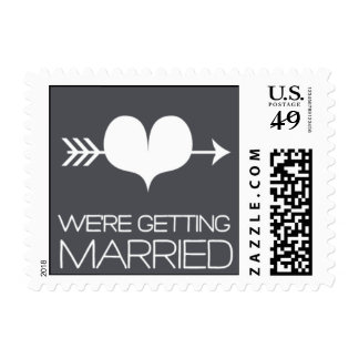 Heartfelt - We're Getting Married - Gray Postage