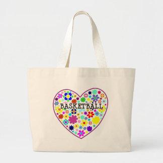 heartfilledwithflowers-basketball. bolsa de tela grande