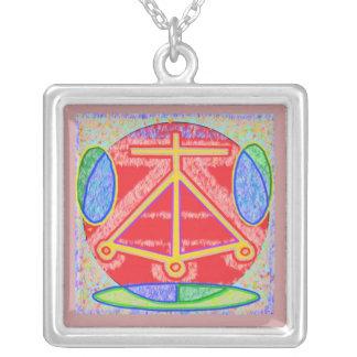 HEARTH: KARUNA  Reiki Healing Symbol Square Pendant Necklace