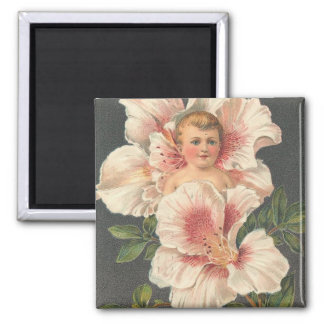 Heartiest Congratulations Flower Child 2 Inch Square Magnet