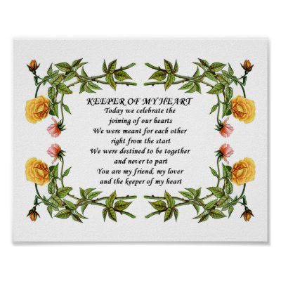 This romantic poem can be presented as a wedding or anniversary gift and it