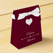 Heartline (burgundy) Personalized Wedding Favor Box