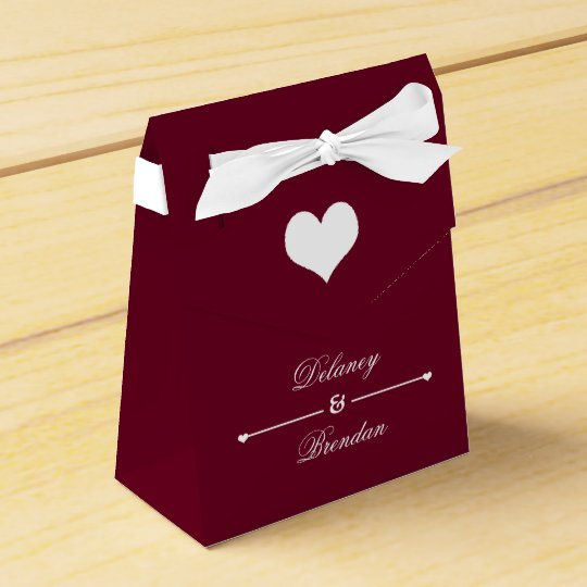 Heartline Burgundy Personalized Wedding Favor Box