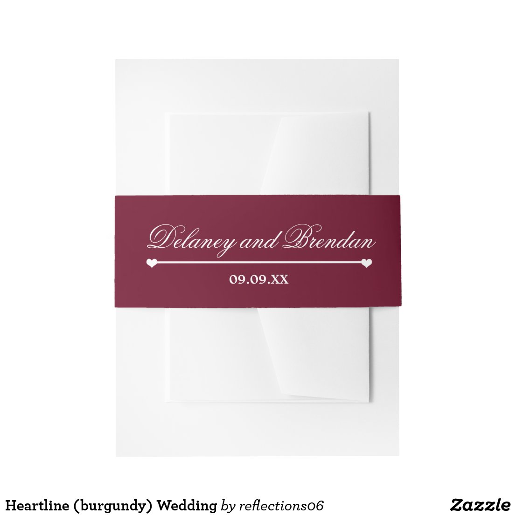 Heartline (burgundy) Wedding Invitation Belly Band