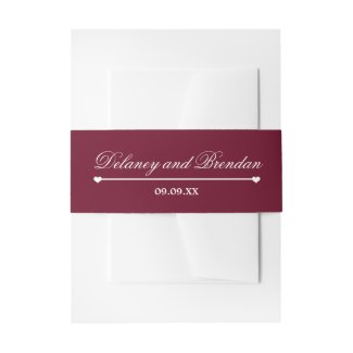 Heartline (burgundy) Wedding Invitation Belly Band